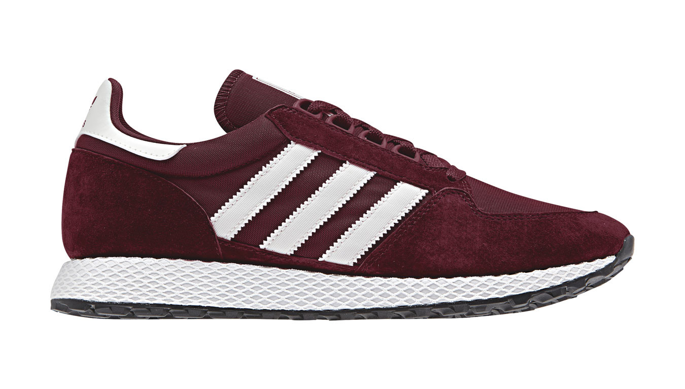 adidas Originals burgundy and white Forest Grove sneakers