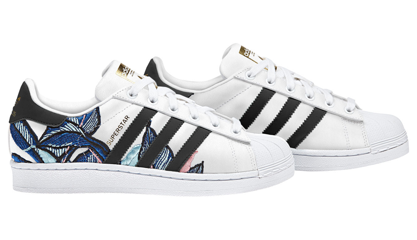 adidas superstar floral sneakers