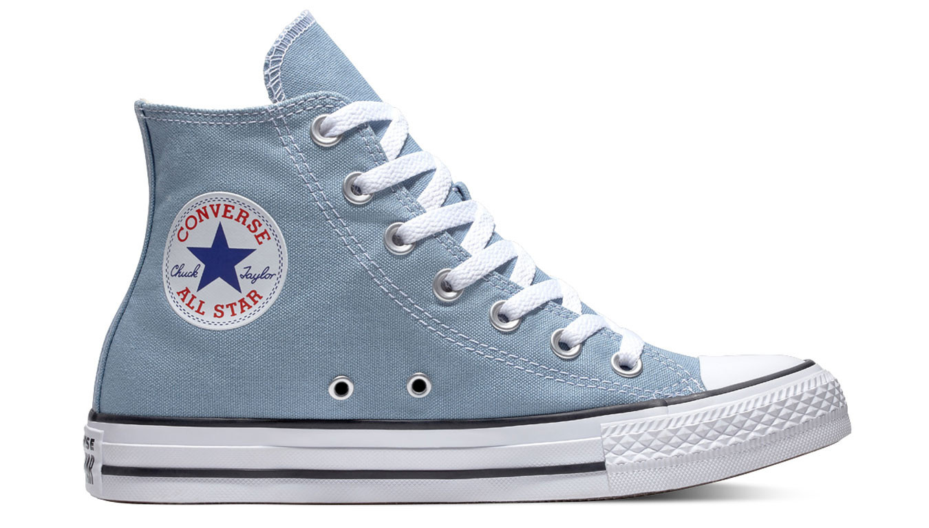8f86c10ed68 Converse Chuck Taylor All Star Classic High Top Washed Denim   Turquoise    59$   Sneakers   162114C   Shooos