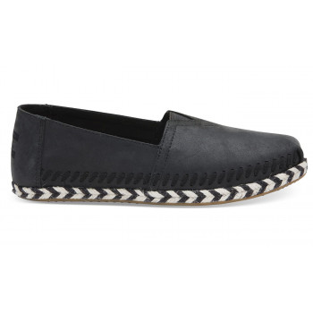 TOMS Black Leather Rope Alpargata